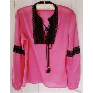 TORY BURCH Breezy Pink Silk/Trim TUNIC-SzS summer!